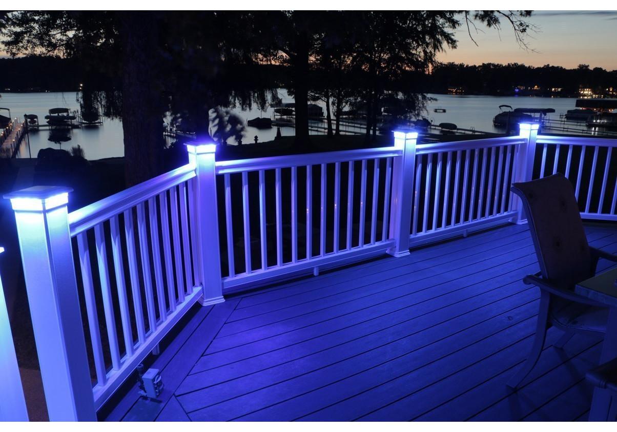 Solar Post Cap Deck Fence Color Led Lights 5x5 Or 6x6 White Colored 2 Pack Landscape Walkway Lights Home Garden