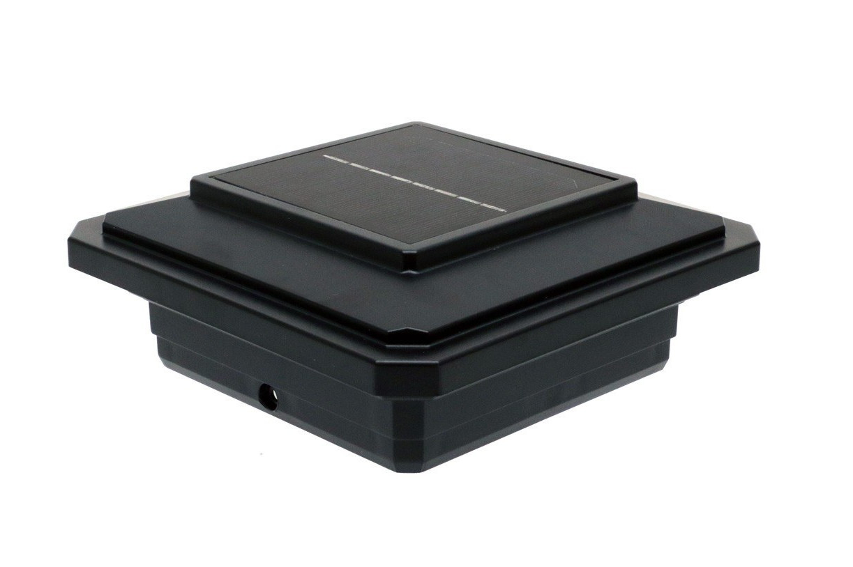 4-1/2 in  x 4-1/2 in  Solar Post Cap Light for Trex - Black - 3 LED Colors