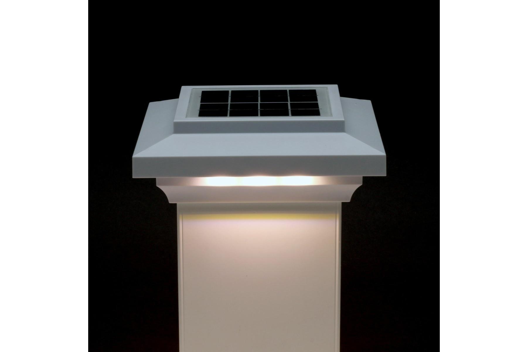 5-1/2 in  x 5-1/2 in  Solar Post Cap Light for Azek |Trex |Wood - White - 3  LED Colors