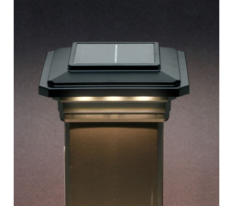 4 in. x 4 in. Solar Post Cap Light - Black - 3 LED Colors