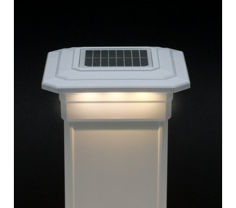5 in. x 5 in. Solar Post Cap Light - White - 3 LED Colors
