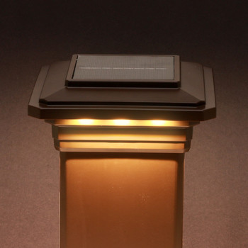 4-1/2 in. x 4-1/2 in. Solar Post Cap Light for Trex- Vintage Lantern/Brown - 3 LED Colors