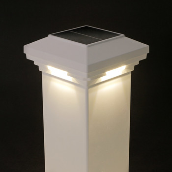 4 in x 4 in White Solar Post Cap Light- White LED