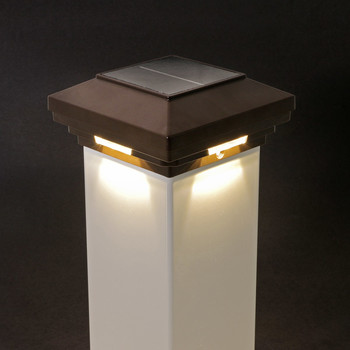 4 in x 4 in Brown Solar Post Cap Light- White LED