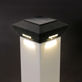 4 in x 4 in Black Solar Post Cap Light- White LED