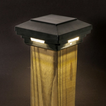 "3.5 in X 3.5 in (4"" X 4"" Wood) Black Solar Post Cap Light - White LED"