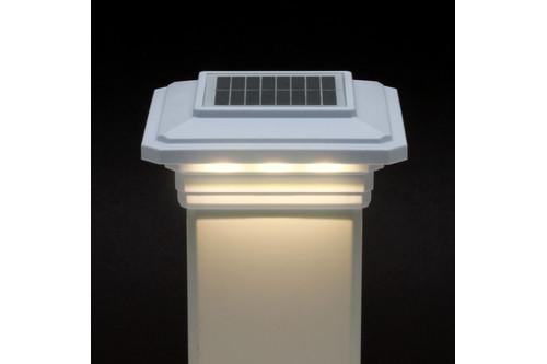 4 in. x 4 in. Solar Post Cap Light - White - 3 LED Colors