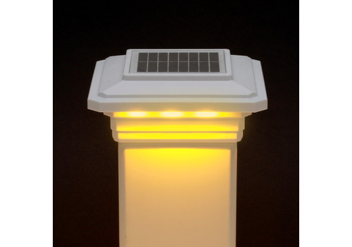 4-1/2 in. x 4-1/2 in. Solar Post Cap Light for Trex- Classic White - 3 LED Colors