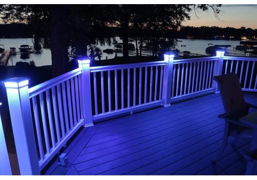 4 in. x 4 in. Solar Post Cap Light - Black - 3 LED Colors
