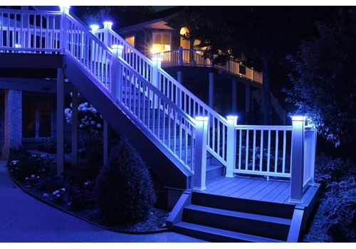 4 in. x 4 in. Solar Post Cap Light - White - 3 LED Colors