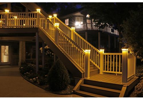 5-1/2 in. x 5-1/2 in. Solar Post Cap Light for Azek |Trex |Wood - Black - 3 LED Colors